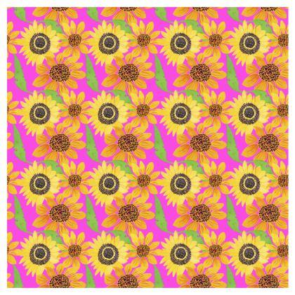 Naive Sunflowers On Fuchsia Double Deckchair