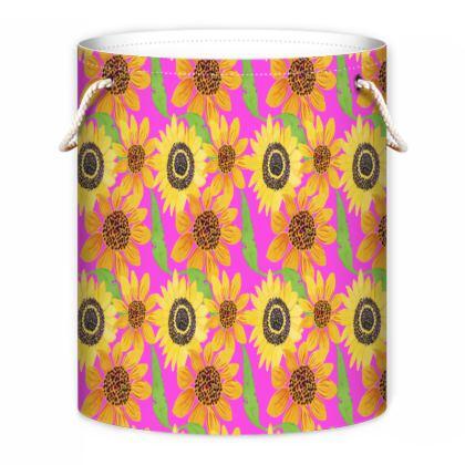 Naive Sunflowers On Fuchsia Laundry Bag
