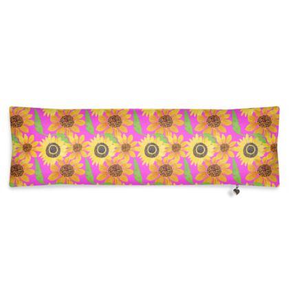 Naive Sunflowers On Fuchsia Bolster Cushion