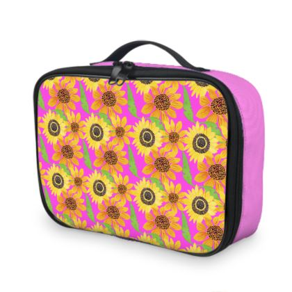 Naive Sunflowers On Fuchsia Lunch Bags