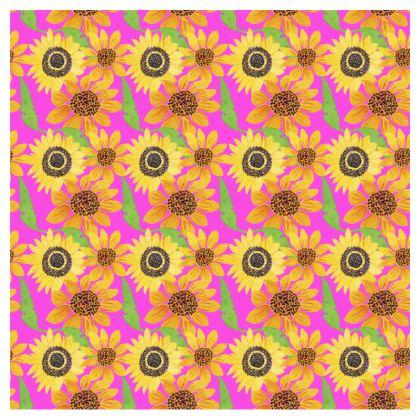 Naive Sunflowers On Fuchsia Zip Top Handbag