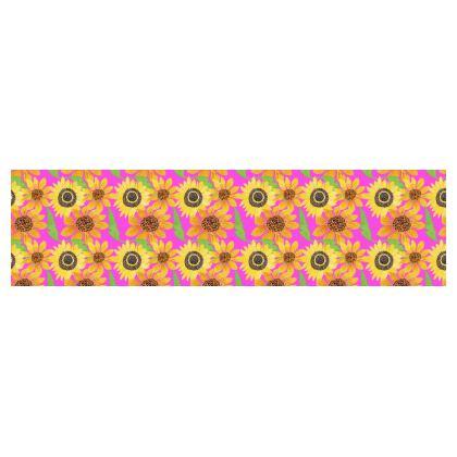 Naive Sunflowers On Fuchsia Drum Lamp Shade