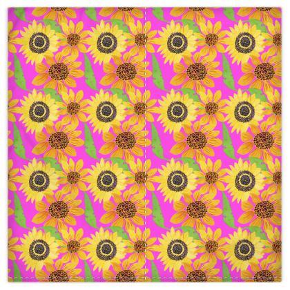 Naive Sunflowers On Fuchsia Duvet Covers