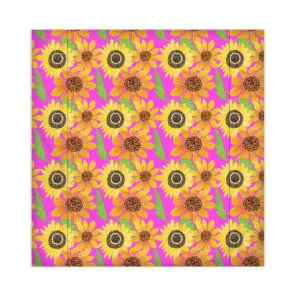 Naive Sunflowers On Fuchsia Duvet Covers JAPAN