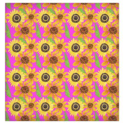 Naive Sunflowers On Fuchsia Duvet Covers USA