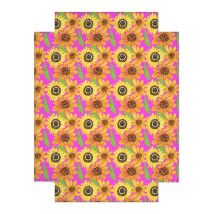 Naive Sunflowers On Fuchsia Fitted Sheets