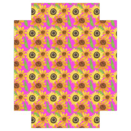 Naive Sunflowers On Fuchsia Fitted Sheets USA