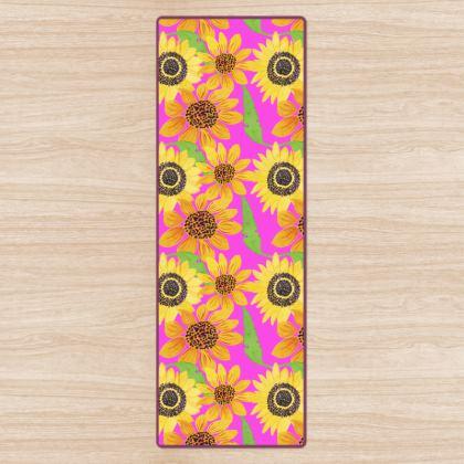 Naive Sunflowers On Fuchsia Yoga Mat