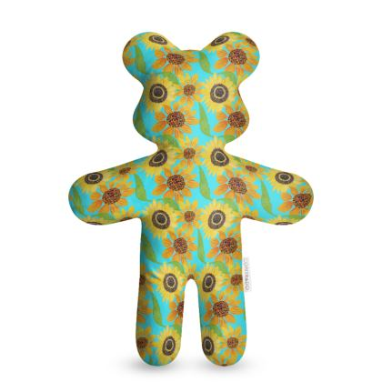 Naive Sunflowers On Turquoise Teddy Bear