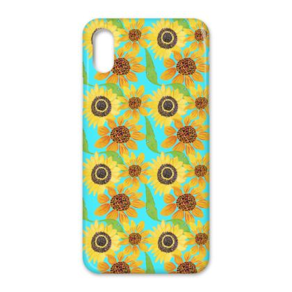 Naive Sunflowers On Turquoise IPhone Cases