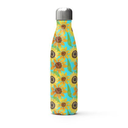 Naive Sunflowers On Turquoise Stainless Steel Thermal Bottle