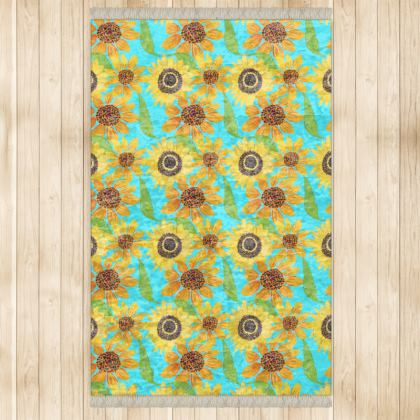 Naive Sunflowers On Turquoise Rugs