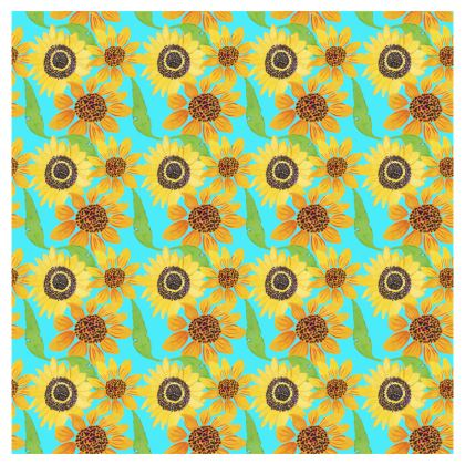 Naive Sunflowers On Turquoise Deckchair
