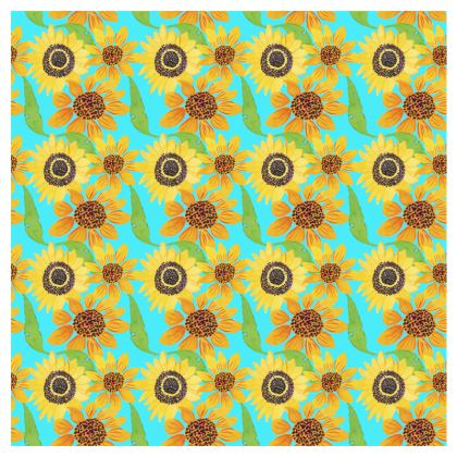 Naive Sunflowers On Turquoise Double Deckchair
