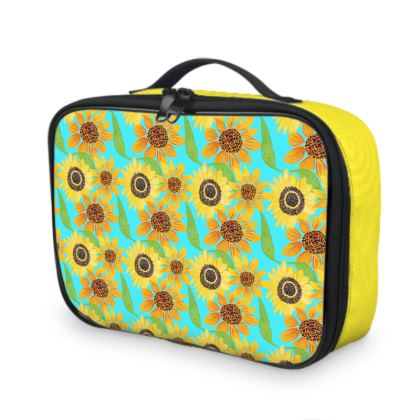 Naive Sunflowers On Turquoise Lunch Bags