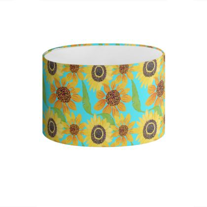 Naive Sunflowers On Turquoise Drum Lamp Shade