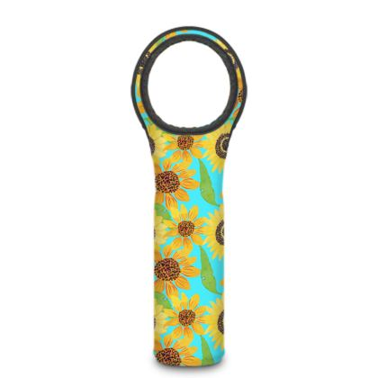 Naive Sunflowers On Turquoise Wine Bottle Cooler