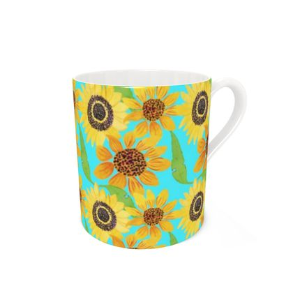Naive Sunflowers On Turquoise Bone China Mug