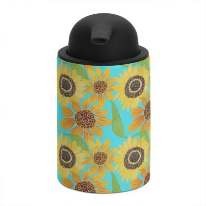 Naive Sunflowers On Turquoise Soap Dispenser