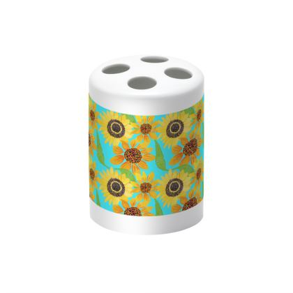 Naive Sunflowers On Turquoise Toothbrush Holder