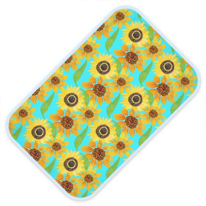 Naive Sunflowers On Turquoise Baby Changing Mats