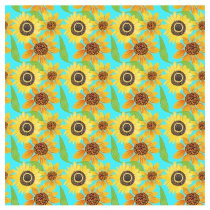 Naive Sunflowers On Turquoise Occasional Chair