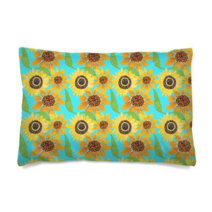 Naive Sunflowers On Turquoise Pillow Case