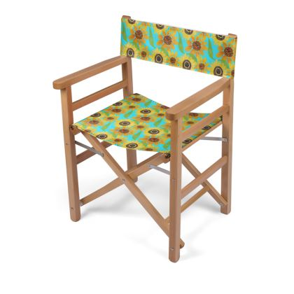 Naive Sunflowers On Turquoise Directors Chair