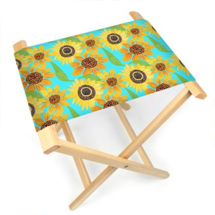 Naive Sunflowers On Turquoise Folding Stool Chair