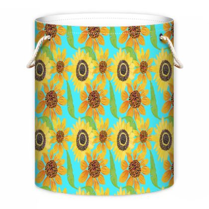 Naive Sunflowers On Turquoise Laundry Bag