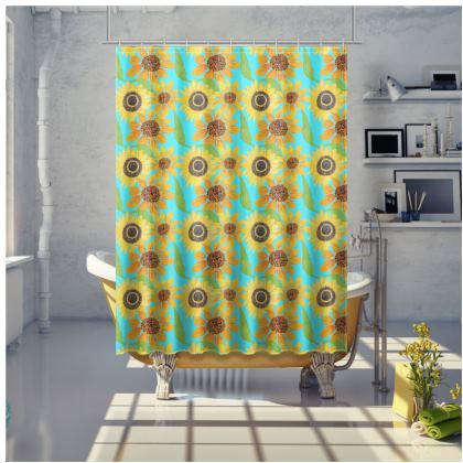 Naive Sunflowers On Turquoise Shower Curtain