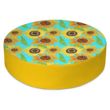 Naive Sunflowers On Turquoise Round Floor Cushions