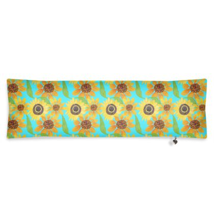 Naive Sunflowers On Turquoise Bolster Cushion