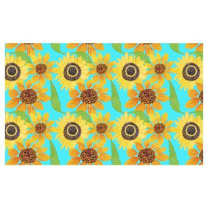 Naive Sunflowers On Turquoise Zip Top Handbag