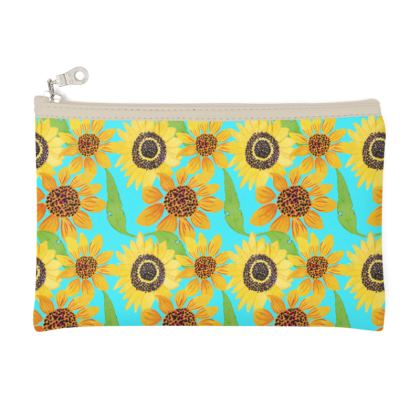 Naive Sunflowers On Turquoise Zip Top Pouch