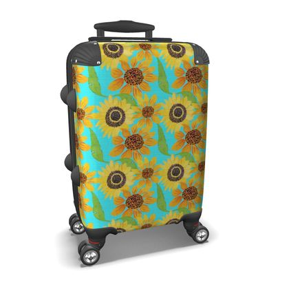 Naive Sunflowers On Turquoise Suitcase
