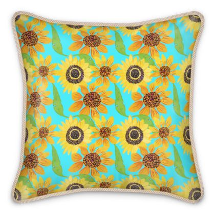 Naive Sunflowers On Turquoise Silk Cushions