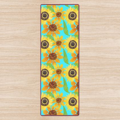 Naive Sunflowers On Turquoise Yoga Mat
