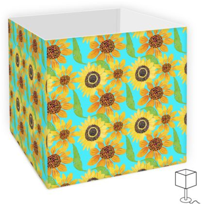 Naive Sunflowers On Turquoise Square Lamp Shade