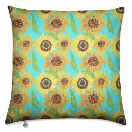 Naive Sunflowers On Turquoise Luxury Cushions