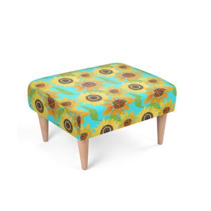 Naive Sunflowers On Turquoise Footstool