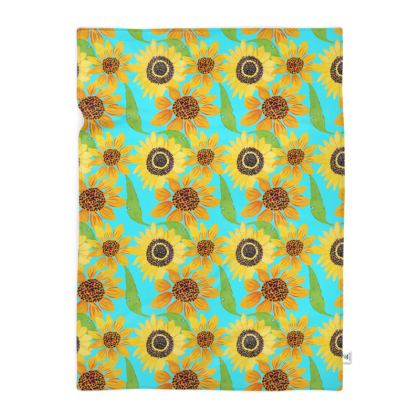 Naive Sunflowers On Turquoise Blanket