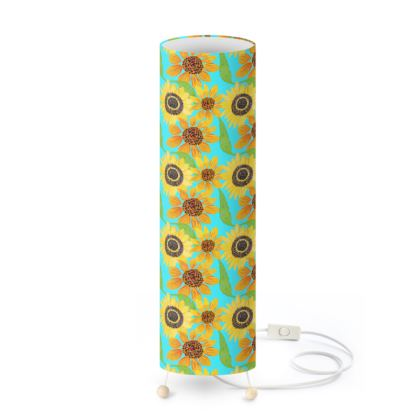 Naive Sunflowers On Turquoise Standing Lamp