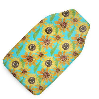 Naive Sunflowers On Turquoise Hot Water Bottle