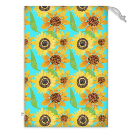 Naive Sunflowers On Turquoise Toy Sack