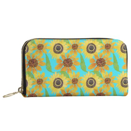 Naive Sunflowers On Turquoise Leather Zip Purse