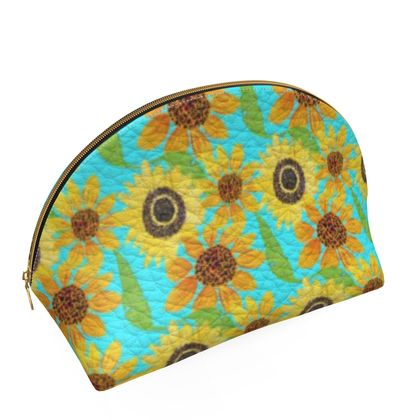 Naive Sunflowers On Turquoise Shell Coin Purse