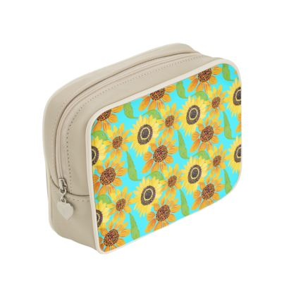 Naive Sunflowers On Turquoise Make Up Bags