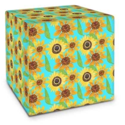 Naive Sunflowers On Turquoise Cube