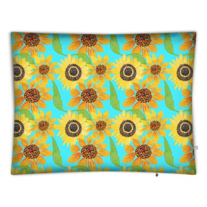 Naive Sunflowers On Turquoise Floor Cushions